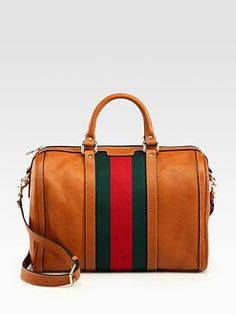 Gucci Vintage Web Medium Boston Bag - aaaahh so classic it hurts Gucci Purses, Gucci Handbags, Handbags Michael Kors, Tote Handbags, Purses And Handbags, Gucci Bags, Leather Handbags, Leather Bag, Black Gucci Purse