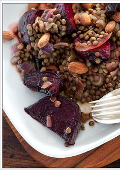 Warm salad of roasted beets, lentils & balsamic onions- I really, really enjoyed this. I prepared 1 cup of lentils and used half. I added 7 ounces of chopped beets, which I roasted. I did not add the onions, and used slivered almonds rather than toasted. It tasted healthy and amazing! :)