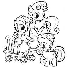 cutie mark crusaders, my little pony coloring page