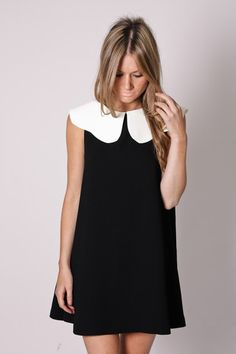 lucky star tunic dress- white collar with black