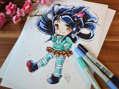 Chibi Vanellope by Lighane on DeviantArt Art Kawaii, Manga Kawaii, Kawaii Chibi, Cute Chibi, Anime Chibi, Cartoon Drawings Of People, Disney Drawings, Cartoon Art, Beautiful Drawings