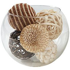 Decorative Bowl With Balls Nearly Natural Decorative Balls Set Of 6  Natural Tray Decor