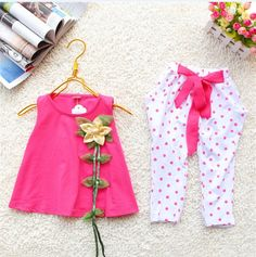 NEW ARRIVAL 2014 Children Summer Clothing Sets Girl flower set Twinset Casual t shirt+pants For 3-6 Years 4set/1lot,free shipp $45.68