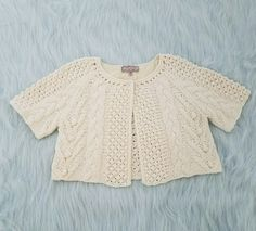 Urban Outfitters Ecote Ivory Cropped Short Sleeve Cardigan Sweater Womens Large | Clothing, Shoes & Accessories, Women's Clothing, Sweaters | eBay!