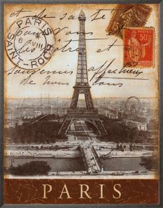 Paris eiffel tower postcard