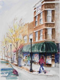 city scene  original watercolor painting 14 x by WatercolorsByAmyC, $250.00
