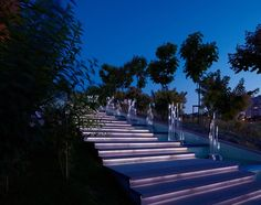 These outdoor stairs have lighting hidden under each stair tread making it easy to see where you are going at night.