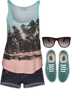 A fashion look from April 2013 featuring beach tank tops, embroidered shorts and blue sneakers. Browse and shop related looks. Summer Outfits Women, Casual Summer Outfits, Outfits For Teens, Cool Outfits, Holiday Outfits, Cute Fashion, Teen Fashion, Fashion Outfits, Spring Summer Fashion