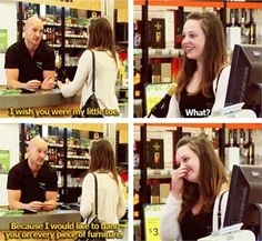 Best Pickup Up Lines Ever Wish You Were My Little Toe I'd Bang You on Furniture ---- hilarious jokes funny pictures walmart humor fails