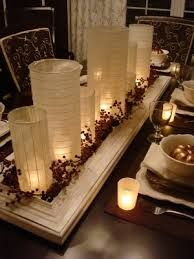 Damask candles decorating our extra bedroom w white for Dining room candle centerpieces