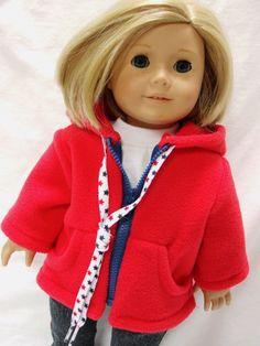 American Girl Doll Fleece Zip Up Hoodie for by DollClothesByJane