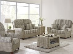 Cane Furniture - indoor outdoor furniture, conservatory, living room, wicker, rattan, hand made, bespoke, cushions, home décor. Della Suite with Coffee and Side Tables. Call 01582 727123 for more info.