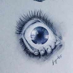 #eye drawing made with pencil,blue pen and black pen :)