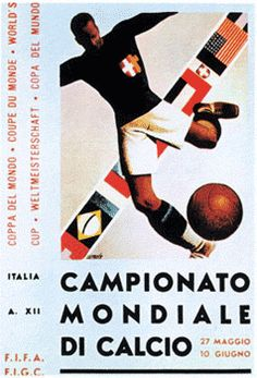 1934 World Cup in Italy Poster Football, Soccer Poster, Football Art, Vintage Football, Football Records, Football Images, Retro Football, Vintage Italian Posters, Vintage Poster