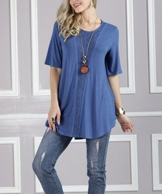 Another great find on #zulily! Denim Blue Lace-Front Scoop-Neck Tunic - Plus Too #zulilyfinds