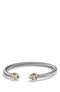 Free shipping and returns on David Yurman 'Cable Classic' Bracelet with Gold at Nordstrom.com. Sterling silver and 14-karat yellow gold. Faceted amethyst, blue topaz, black onyx or white cultured freshwater pearls, bleached, 5.75-6mm diameter. Cable, 5mm wide. By David Yurman; made in the USA.