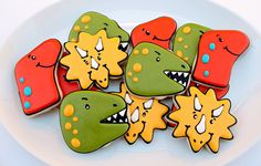 Easy Dinosaurs Cookies: Use any cookie recipe and cut in shapes then decorate with icing. Cookie design ideas