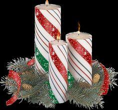 Wielki Boże Narodzenie animacja Świeca - Trzy świece z jodłowych gałązek i szyszek