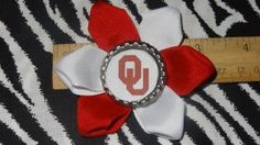 Sporty Bottlecap Flower NCAA Oklahoma Sooners Logo Hair Bow ~ Free Shipping Price: $4.00