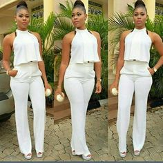 Buy Womens 2 Piece Suit Sexy Crop Top and Long Pants Ladies Work Office Clubwear Bodycon Jumpsuit at Wish - Shopping Made Fun All White Party Outfits, All White Outfit, African Fashion, Fashion Women, Fashion Outfits, Fashion Usa, Fashion 2015, Fashion Brands, Style Fashion