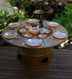 wine barrel  barbeque table bbq outdoor setting cupboard timber oak spices