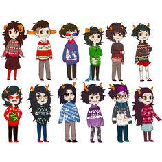 Christmas/winter time! (Terezi's sweater is perfect and Eridan's sweater YES)