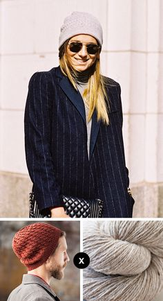 I love that We Wore What blogger Danielle Bernstein happens to be wearing a pin-striped coat with this little oatmeal-colored cable beanie. The overall androgyny of her look makes it that much more...