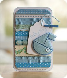 baby card with scraps of ribbon