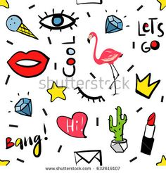 Fashion patch badges Seamless pattern. lipstick, heart, crown, mail, lips, diamond, eyes. Vector hand drawn  illustration. Pop art sketch badges and pins. 80s - 90s style