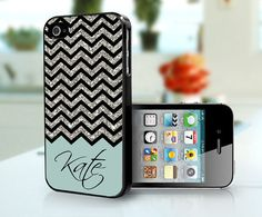 iPhone Case green with silver glitter Chevron Personalised - iPhone 4S and iPhone 4 Case Cover. $15.99, via Etsy (!!!)