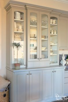 Sharing before and after photos of my built-in China Cabinet. I love how it turned out. I get lots of compliments on this furniture! Design Dazzle
