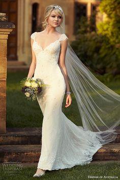 essense of australia wedding dress 2015 bridal cap sleeves v neckline sheath gown with train d1767