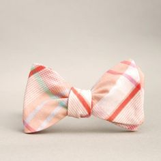 e97671c9a642 sweet peach bow tie // self tie bow tie for men // plaid peach, coral, and  mint bow tie