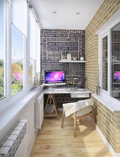 a bold anad creative home office with a unique floor and a statement wall Apartment Balcony Decorating, Apartment Balconies, Small Balcony Design, Rooftop Design, Unique Flooring, Creative Home, Home Office, Home Design, Sweet Home