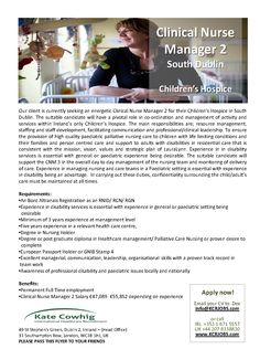 Clinical Nurse Manager Role Immediate Start Dublin  Ireland Send
