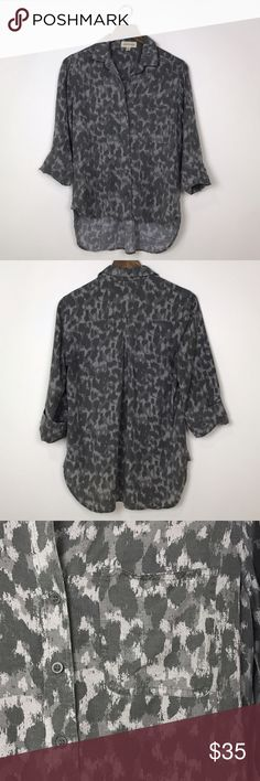 "[Anthropologie] Panthera Leopard Button Down Shirt Panthera Buttondown by Cloth & Stone from Anthropologie. Button front. 3/4 sleeves. High low hem. Abstract leopard print. Gray tones.  🔹Fabric: 100% Tencel Lyocell 🔹Bust: 38"" 🔹Length: 24"" - 29"" 🔹Condition: Excellent pre-owned condition. Anthropologie Tops Blouses"