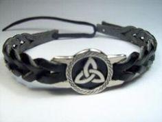 Silver Leather Irish Celtic Knot Bracelet Wrist Band | CelticJewelry - Jewelry on ArtFire