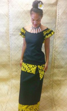 Langi's Island Styles — Ruffled Shoulders Black & Yellow Puletasi