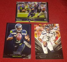 3 Football Cards Russell Wilson Quarterback Seattle Seahawks NFL Topps Panini  #SeattleSeahawks