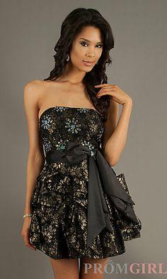Short Strapless Print Dress at PromGirl.com