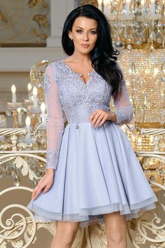 4ee47cdc71 Sukienka Koktajlowa z Koronką Szara BI2160-03
