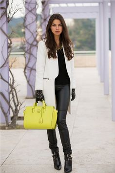 yellow bag with leather gloves and winter 2017 outfit