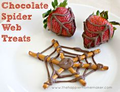 Spider web strawberries and pretzels for Family Movie Night with The Amazing Spiderman #CBias #SocialFabric #SpiderManWMT
