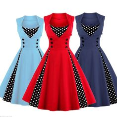 Women Vintage 50s Swing Solid Polka Dot Pinup Rockabilly Evening Party Dress New
