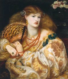 Monna Vanna 1866 by Dante Gabriel Rossetti.   The model for this gorgeous painting was Alexa Wilding, who sat for some of Rossetti's best-known works. The spiral pearl clasp in her flowing auburn hair and the red coral necklace often appear in Rossetti's paintings.