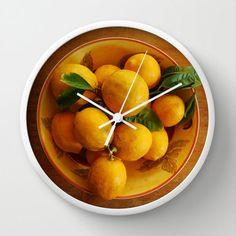Yellow lemons wall clock cottage kitchen food art  by NewCreatioNZ, $45.00 #home decor #clocks