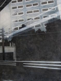 Frank Webster, View of an Office Building from the Train Contemporary Art, Train, Night, Canvas, City, Building, Artwork, Paintings, Tela