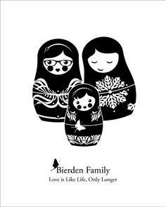 Custom Family Portrait in Russian Nesting Doll Style (8x10) Matryoshka Babushka Family. $10.00, via Etsy.