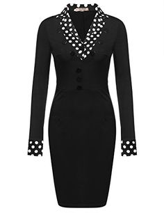Black New Women Long Sleeve Turn-down Collar Vintage Styles Dot Pencil Work  Dresses