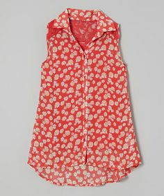 Another great find on #zulily! Coral Daisy Sleeveless Button-Up by Beautees #zulilyfinds